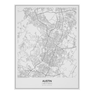 Austin, United States Minimalist Map Poster