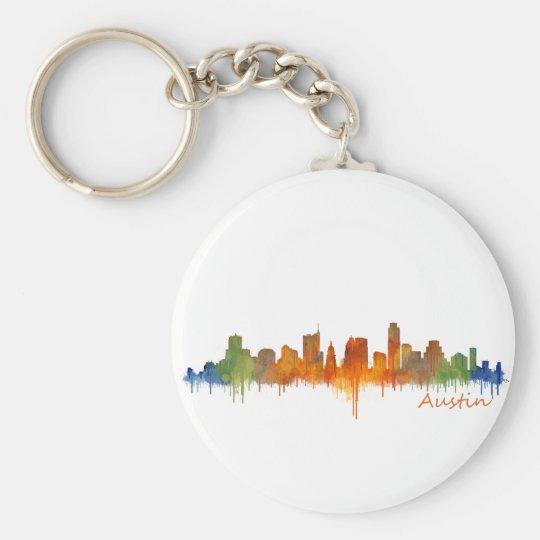 Austin watercolor Texas skyline v2 Basic Round Button Key Ring