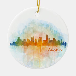 Austin watercolor Texas skyline v4 Round Ceramic Decoration
