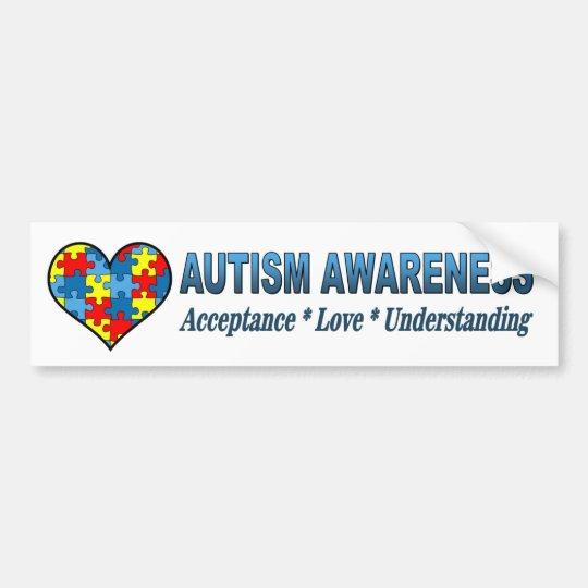 Austism awareness acceptance and understanding bumper sticker