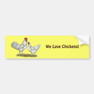 Austra White Chickens Car Bumper Sticker