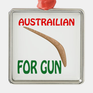 Austrailian For Gun Silver-Colored Square Decoration