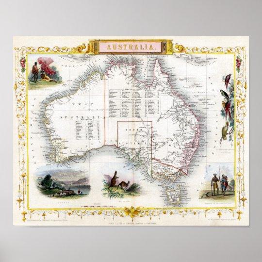 Australia 1851 Map Poster