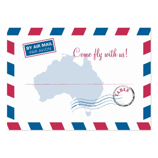 Australia Air Mail Escort/Seating Card Wedding Business Cards