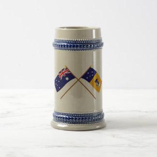 Australia and Capital Territory Crossed Flags Beer Steins