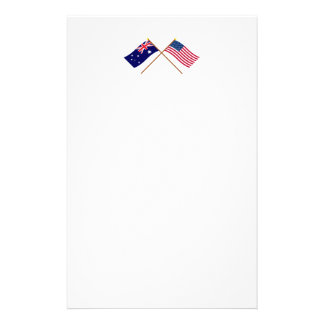 Australia and United States Crossed Flags Stationery Design