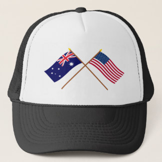 Australia and United States Crossed Flags Trucker Hat