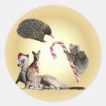 Australia Animals Christmas Round Stickers