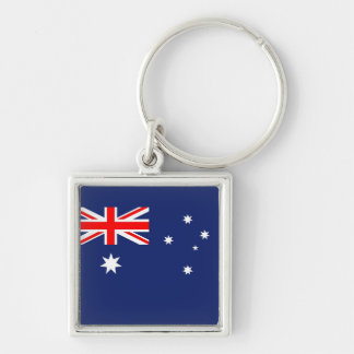 Australia Aussie Australian flag Silver-Colored Square Key Ring