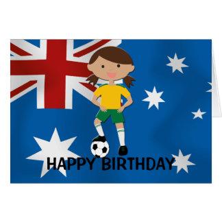 Australia Birthday Soccer Girl 4 Greeting Card