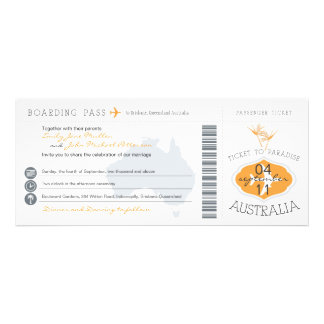 Australia Boarding Pass Wedding Invitation