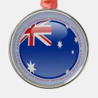 Australia Bubble Flag Silver-Colored Round Decoration