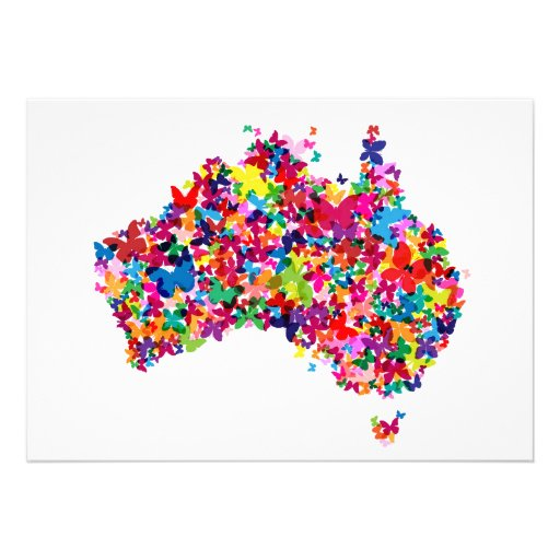 Australia Butterfly Map Invite