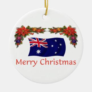 Australia Christmas Round Ceramic Decoration