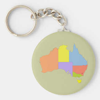 Australia Color Map, Australia Basic Round Button Key Ring