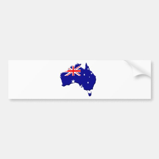 Australia country shape with flag bumper sticker