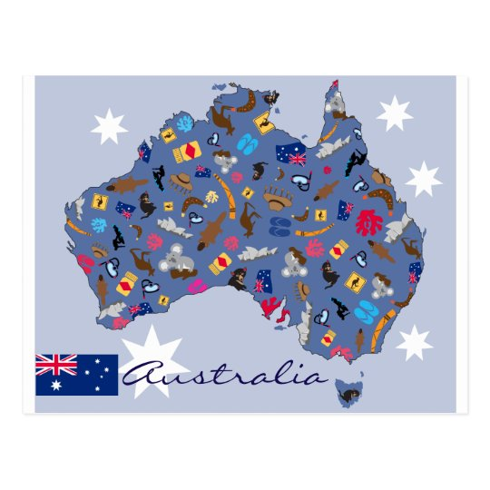 Australia country shape with icons postcard
