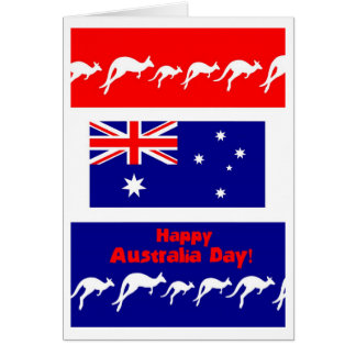 Australia Day Greeting Card, Flag and Kangaroos Card