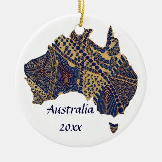 Australia Doodle Tan Red Blue Christmas Ornament