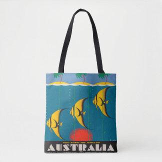 Australia Fish Beach ocean Sun Vintage Travel Tote Bag
