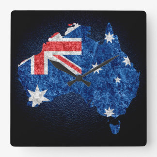 Australia Flag and Map Square Wall Clock