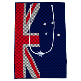Australia Flag Design in Carbon Chrome Styles Medium Gift Bag