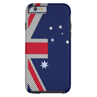 Australia Flag Design in Carbon Fiber Chrome Decor Tough iPhone 6 Case