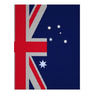 Australia Flag Design in Carbon Fiber Chrome Style 21.5 Cm X 28 Cm Flyer