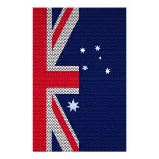 Australia Flag Design in Carbon Fiber Chrome Style Flyers