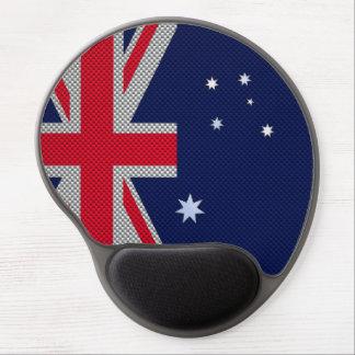 Australia Flag Design in Carbon Fiber Chrome Style Gel Mouse Mat