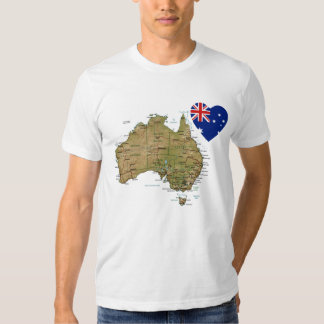 Australia Flag Heart and Map T-Shirt
