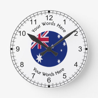 Australia Flag Icon Round Clock