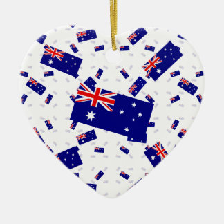 Australia Flag in Multiple Layers Askew Ceramic Heart Decoration