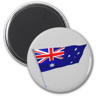 Australia flag in the wind 6 cm round magnet