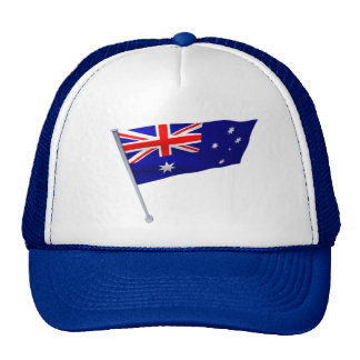 Australia flag in the wind hats