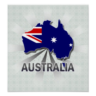 Australia Flag Map 2 0 Posters