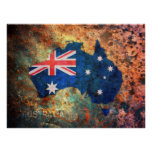 Australia Flag Map Posters