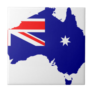 Australia Flag Map Small Square Tile