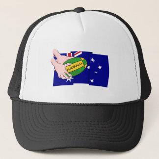 Australia Flag Rugby Ball Cartoon Hands Cap