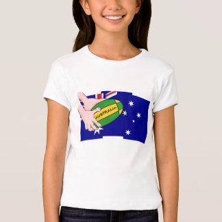 Australia Flag Rugby Ball Cartoon Hands T Shirt