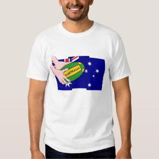 Australia Flag Rugby Ball Cartoon Hands T Shirts