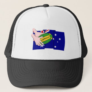 Australia Flag Rugby Ball Cartoon Hands Trucker Hat