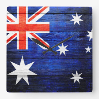 Australia Flag Vintage Wood Square Wall Clock