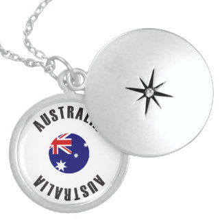 Australia Flag Wheel Sterling Silver Necklace