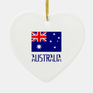 Australia Flag & Word Christmas Ornament
