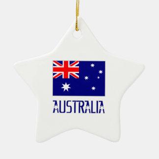 Australia Flag & Word Christmas Ornament