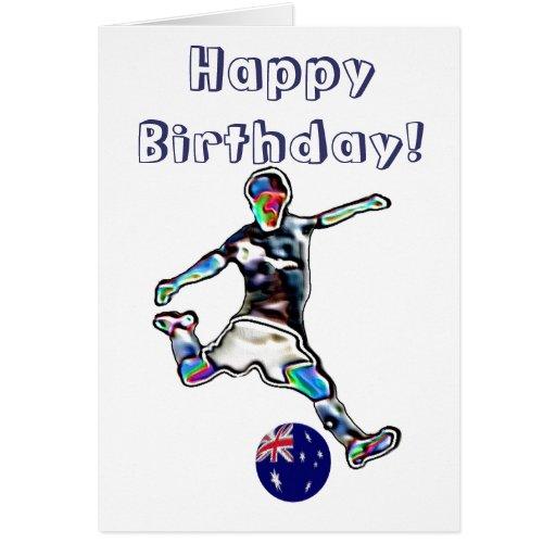 Australia Football soccer birthday card