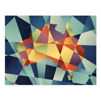 Australia Geometric Retro Map Postcard