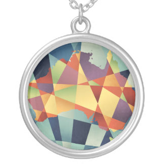 Australia Geometric Retro Map Silver Plated Necklace