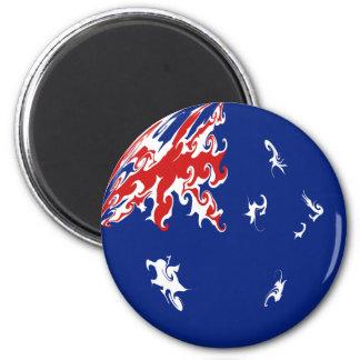 Australia Gnarly Flag 6 Cm Round Magnet